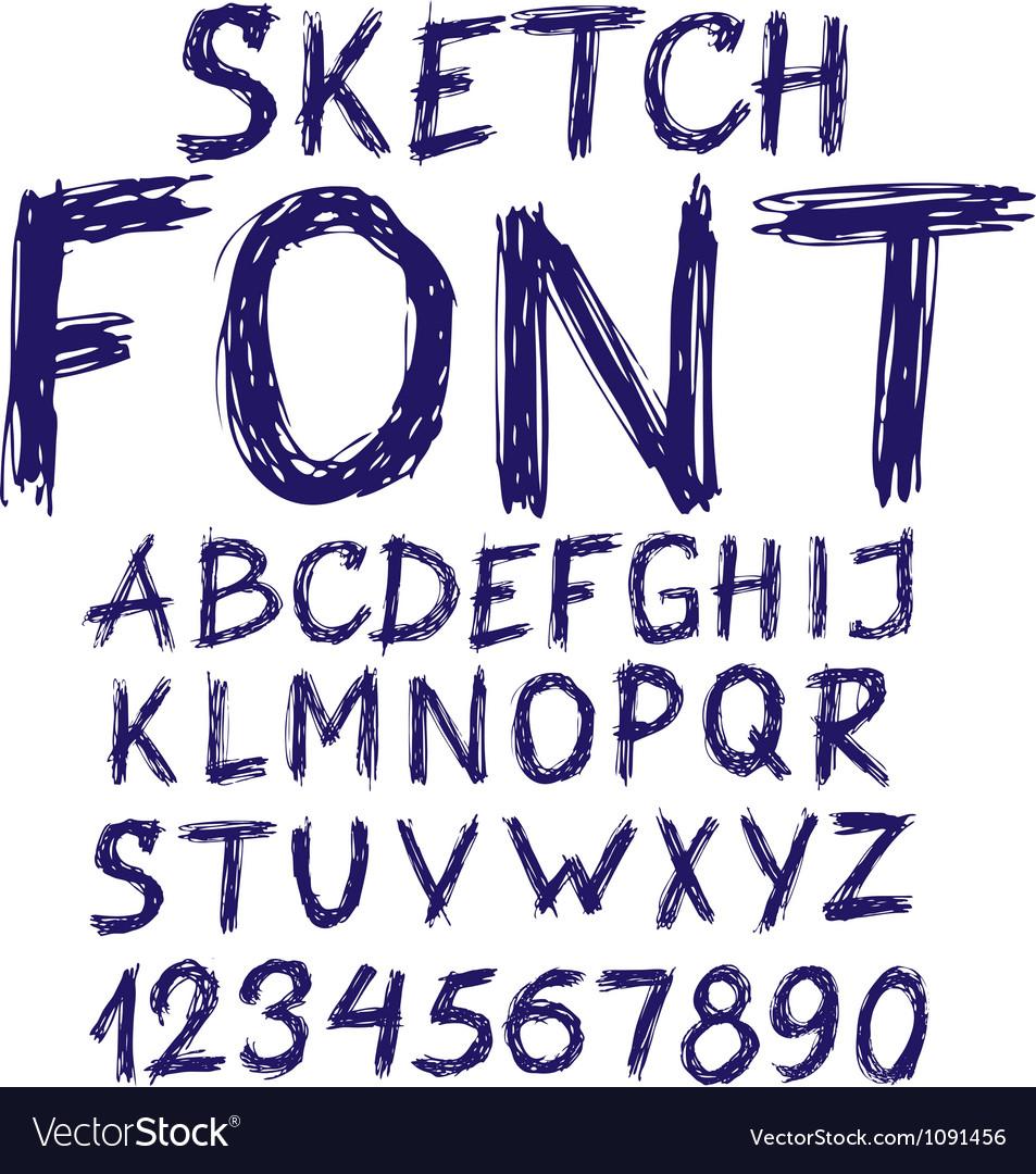 Handwritten blue sketch alphabet vector image