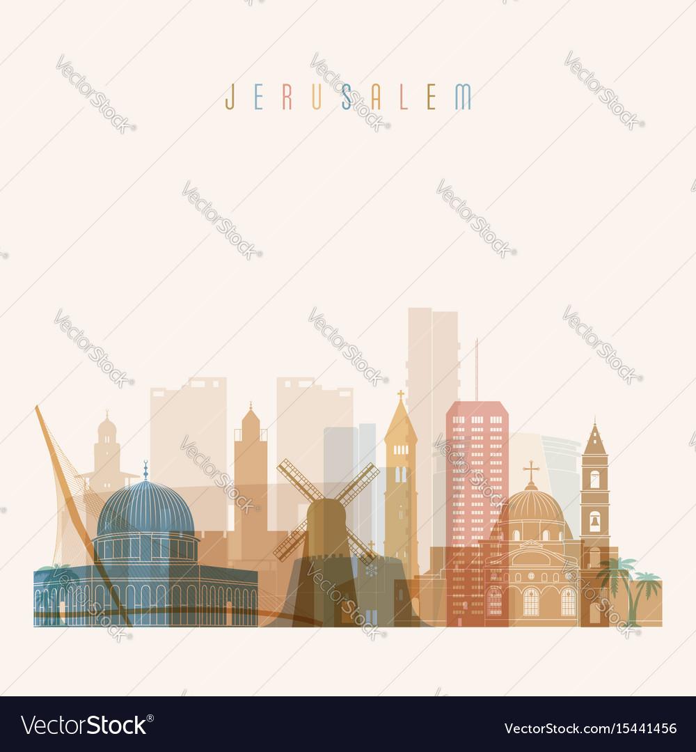 Jerusalem skyline detailed silhouette vector image