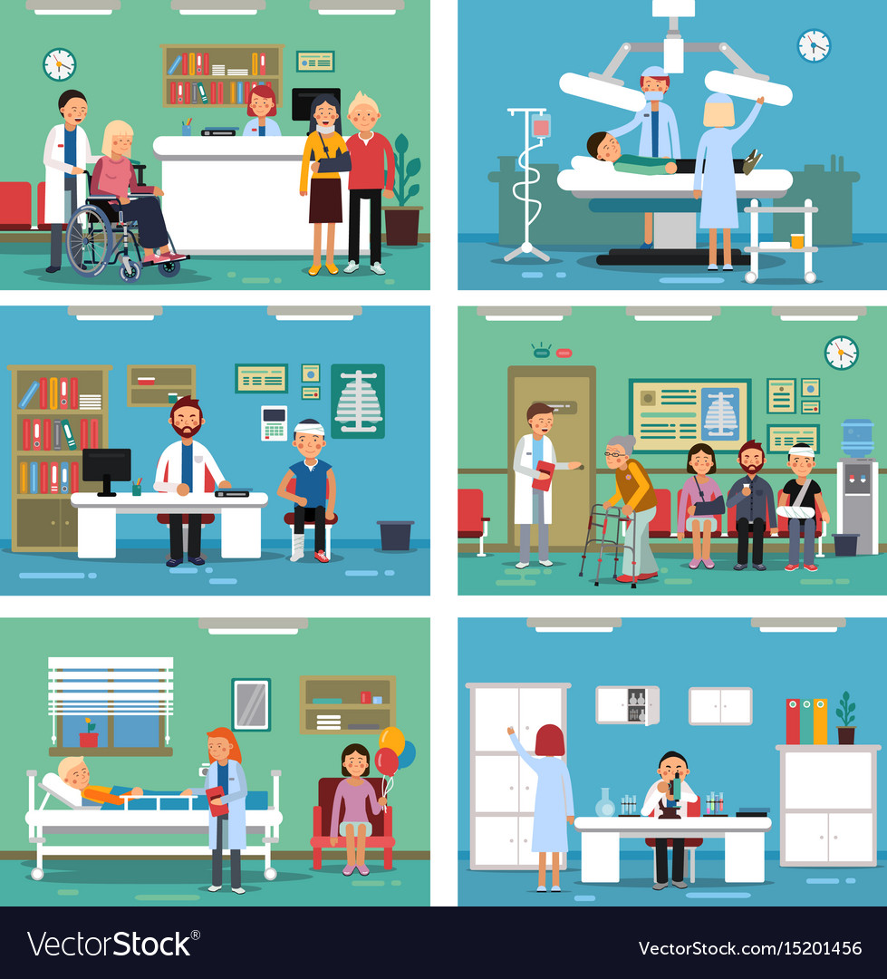 Medical personnel at work nurse doctor and vector image