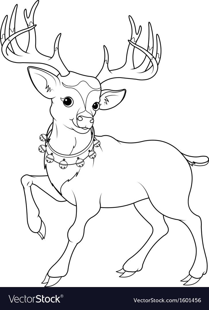 reindeer rudolf coloring page royalty free vector image