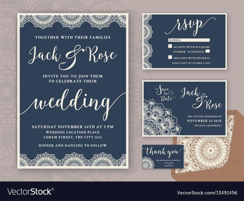 Rustic wedding invitation design template vector image