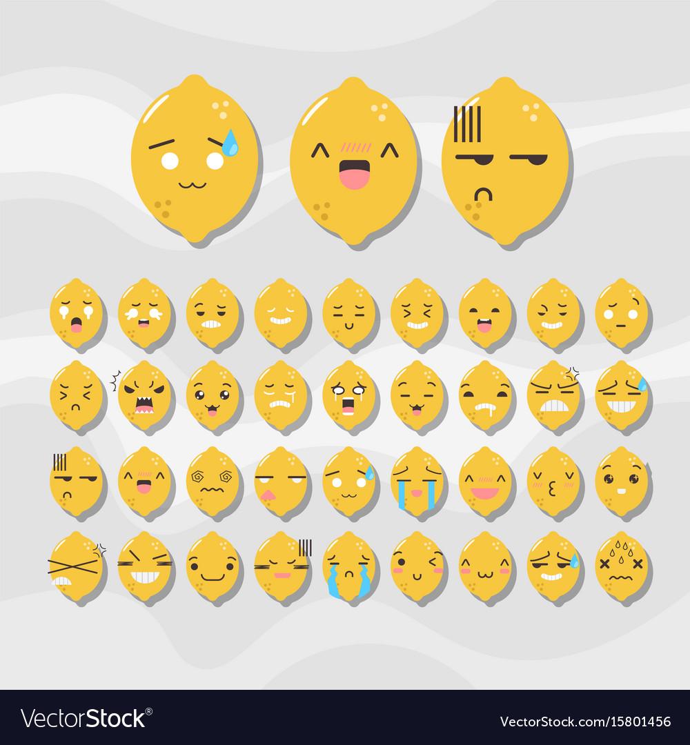Set of cute fruit smiley lemon emoticons vector image