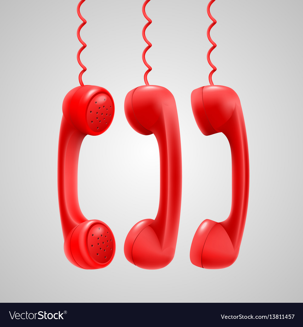 Hanging red handsets vector image