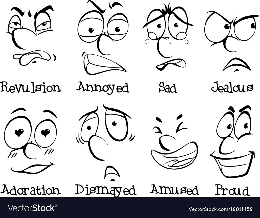 Eight different facial expressions vector image