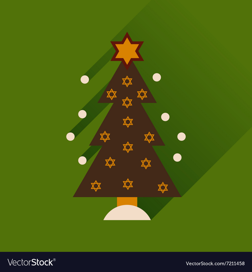 Flat icon with long shadow Hanukkah tree
