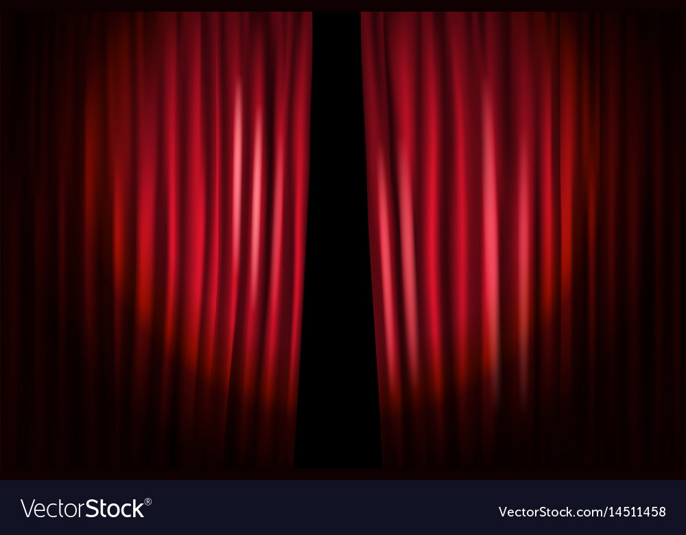Opening stage curtains standup show template Vector Image