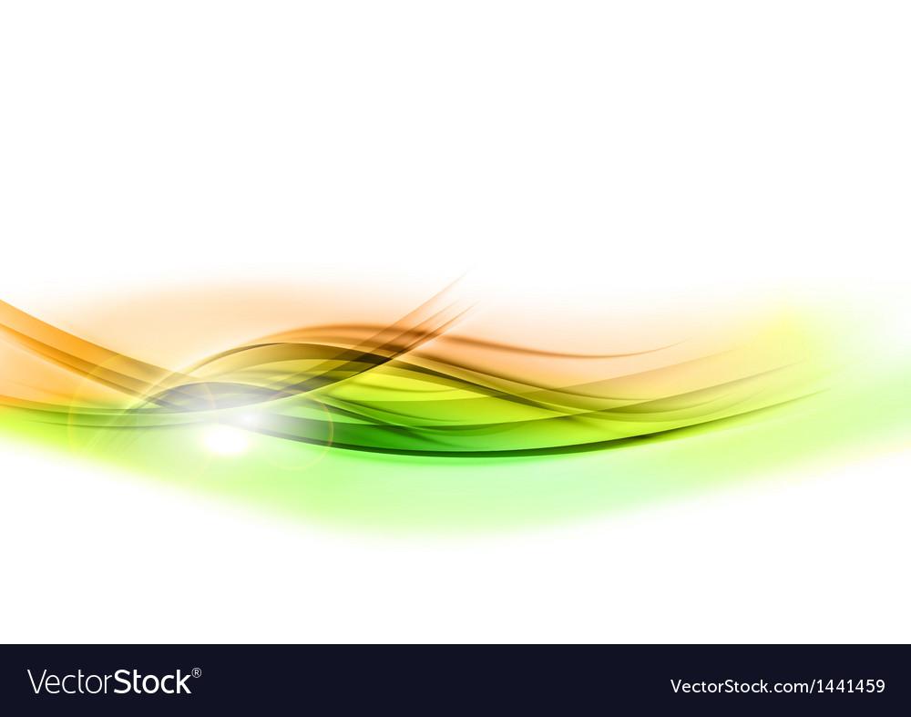 Background green wave vhite horizontal vector image