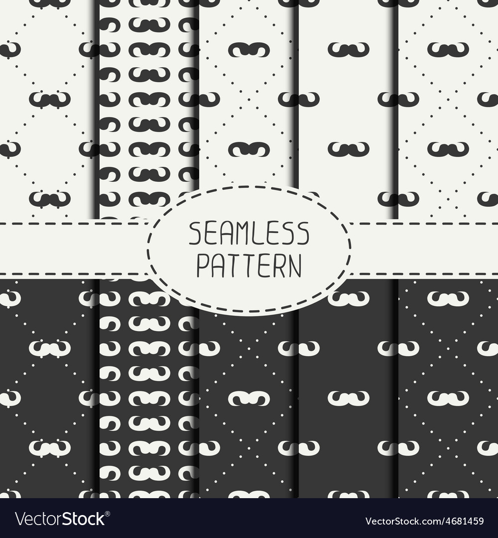 Set of fashionable seamless retro pattern vector image