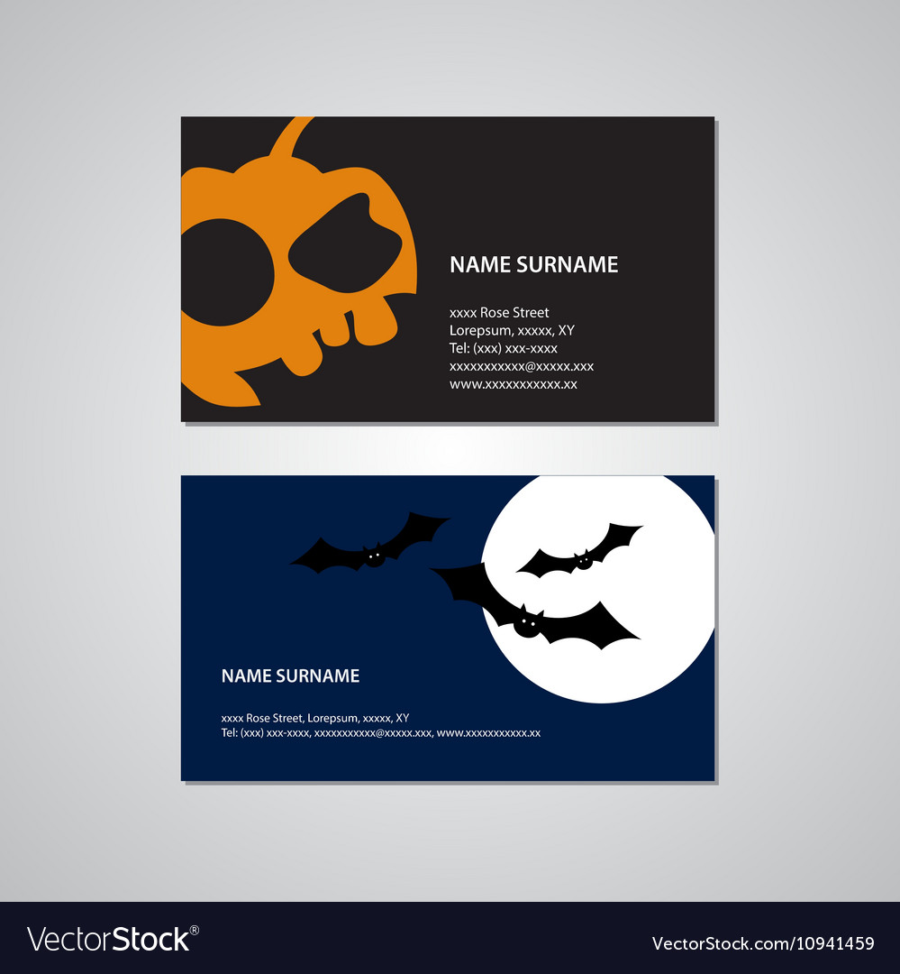 Set of two halloween business cards usa standard set of two halloween business cards usa standard vector image colourmoves