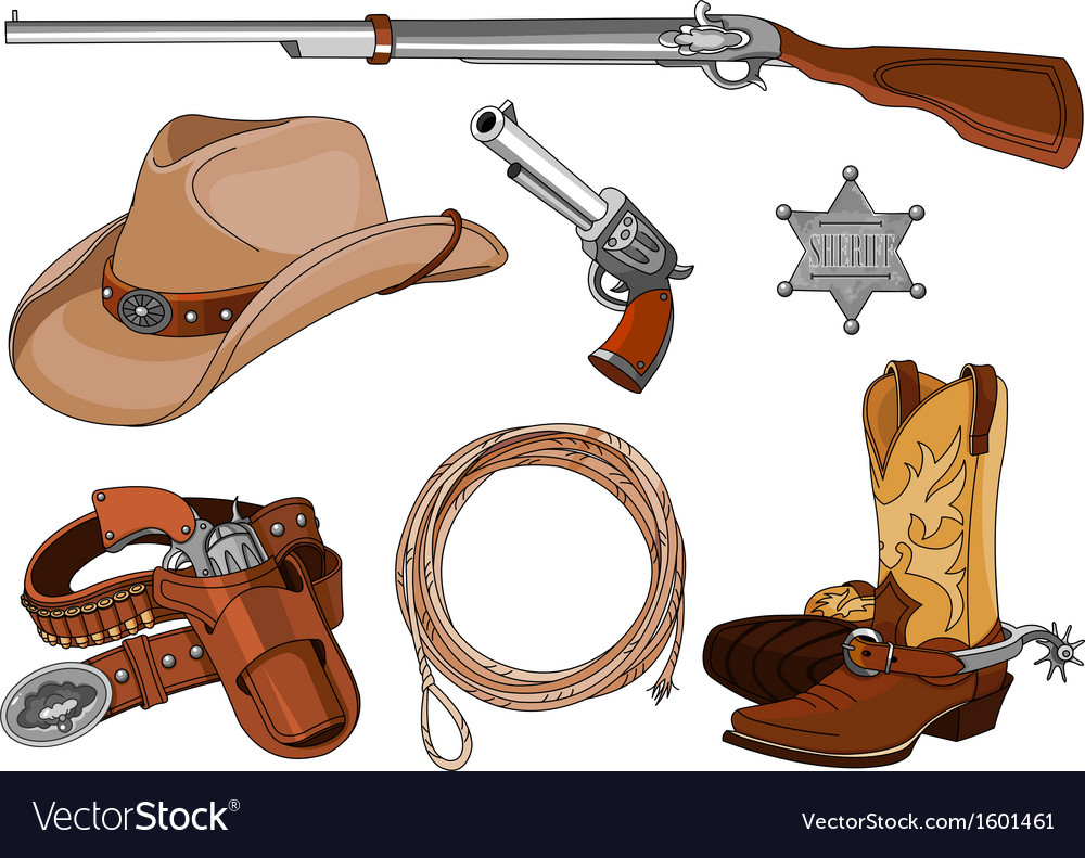 Cowboy objects set vector image