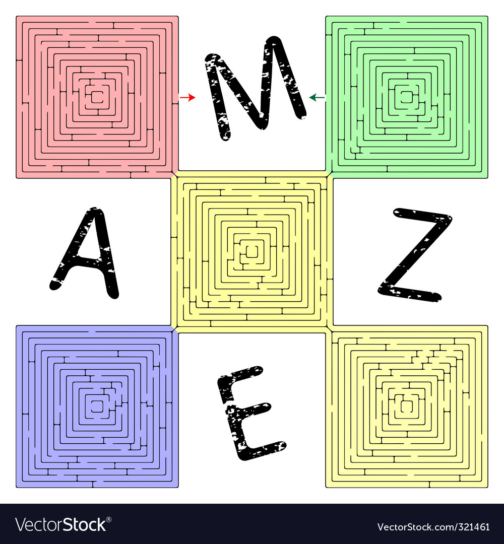 Abstract square maze vector image