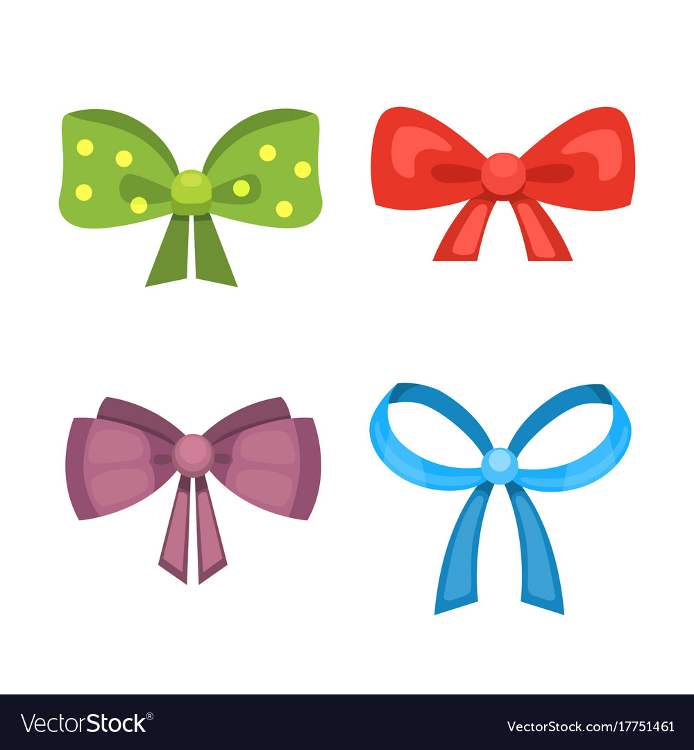 Cartoon cute gift bows with ribbons color vector image cartoon cute gift bows with ribbons color vector image negle Images