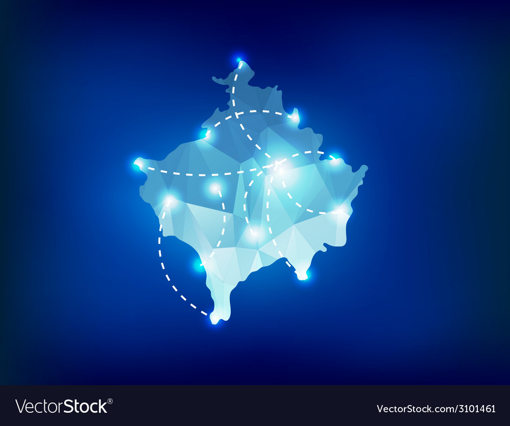 Kosovo country map polygonal with spot lights vector image