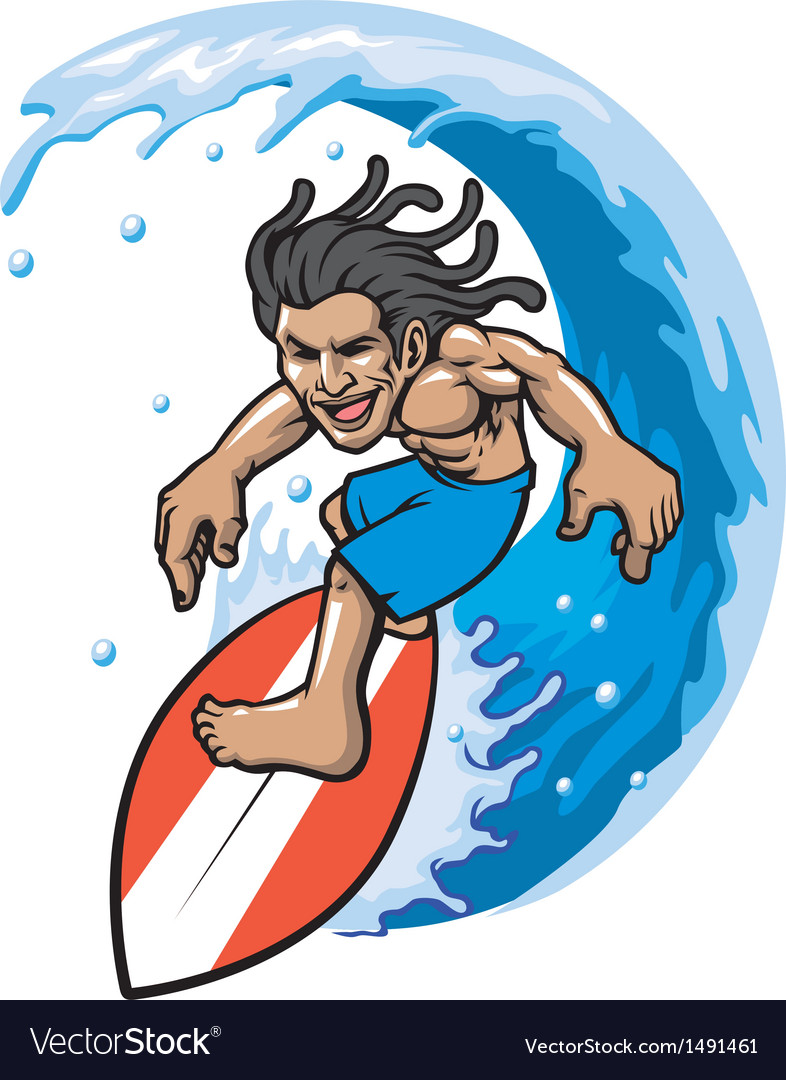 Surfer in action vector image