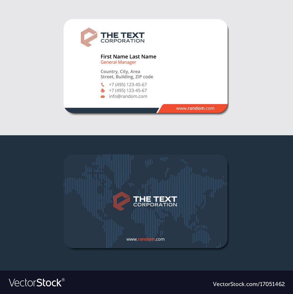 Red professional business card with striped map Vector Image