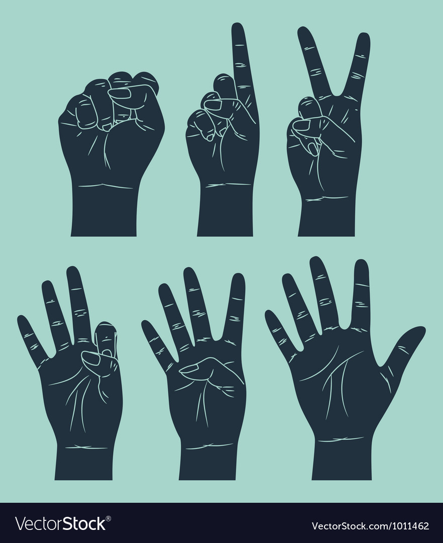 Set of counting hand vector image