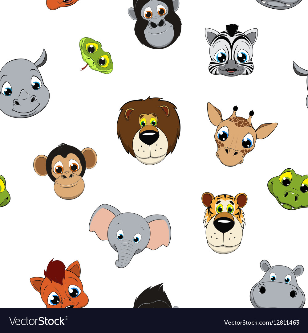 Pattern of funny animals vector image