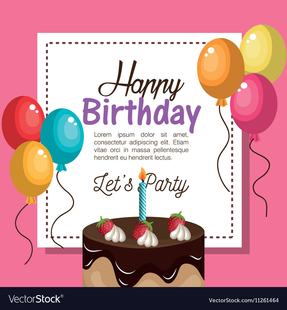 Happy birthday invitation card royalty free vector image happy birthday invitation card vector image stopboris Gallery
