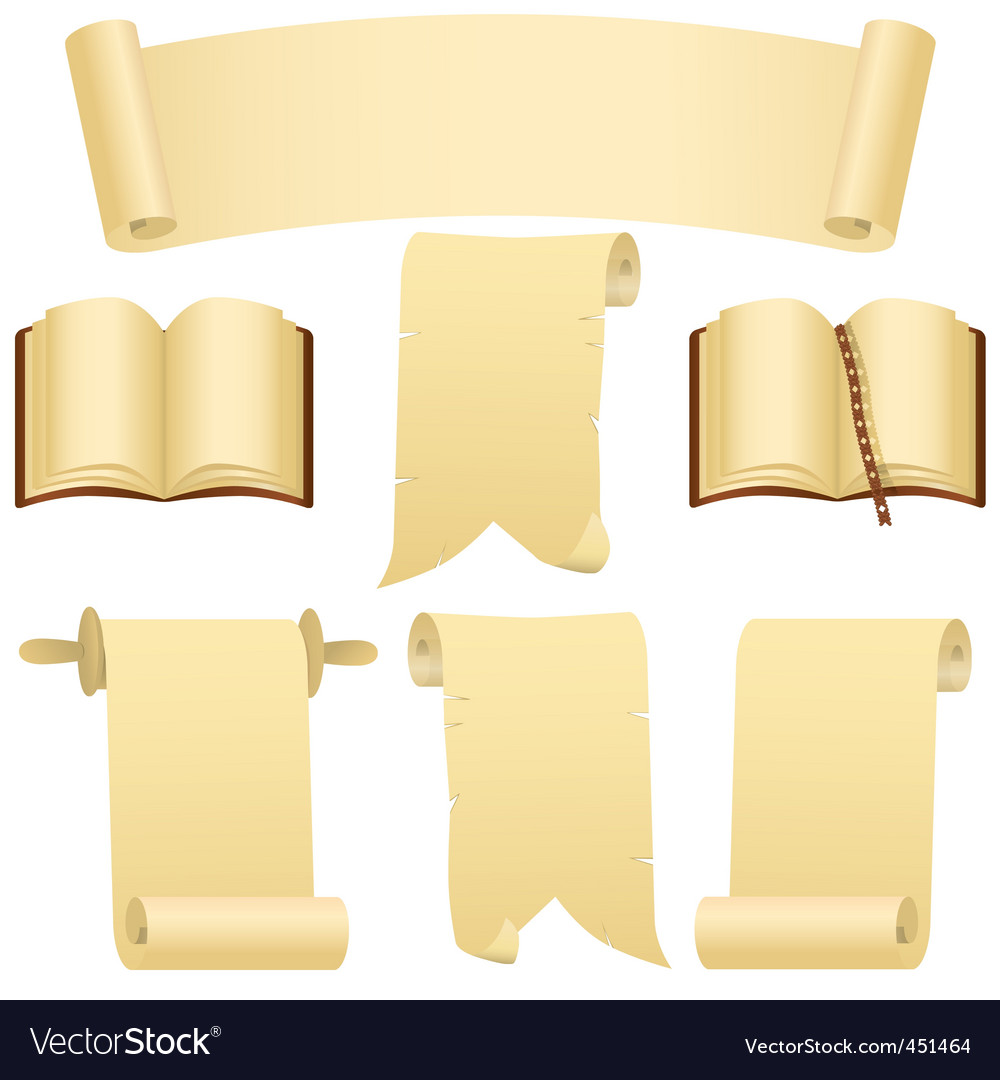 Scrolls books and banner vector image