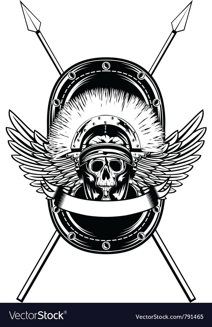 Skull in helmet crossed spears vector image