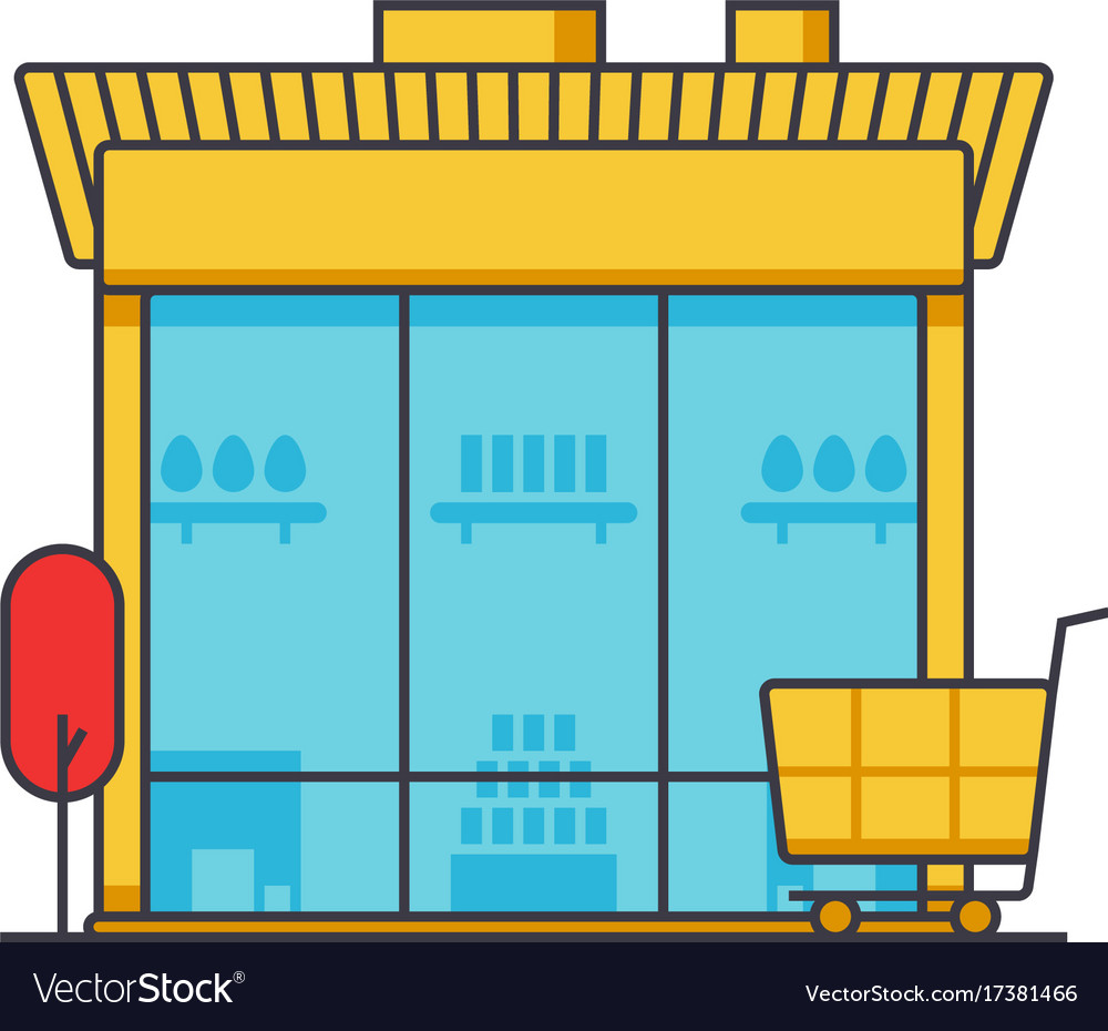 Market building store shop building flat line vector image