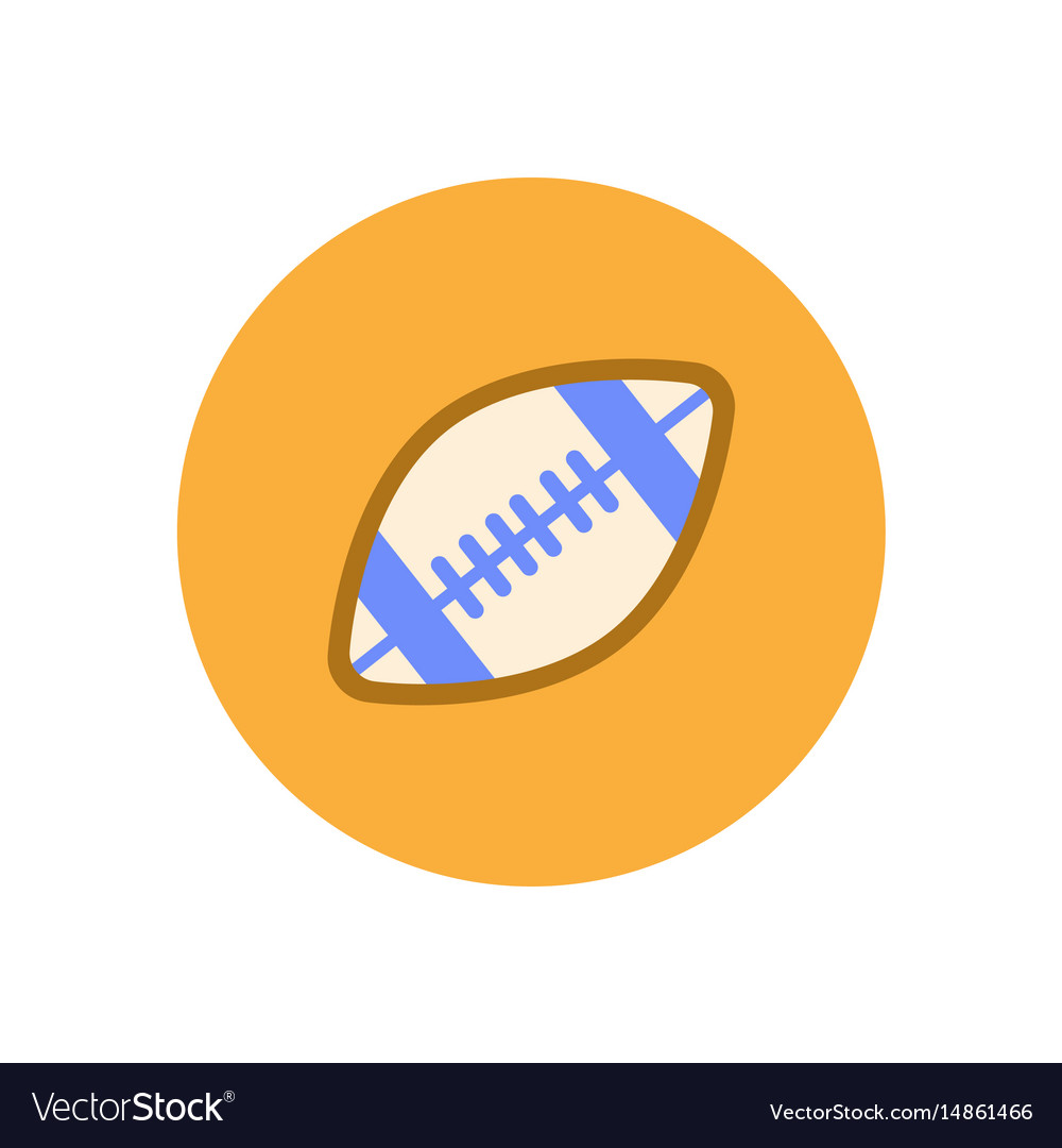 Stylish icon in color circle rugby ball