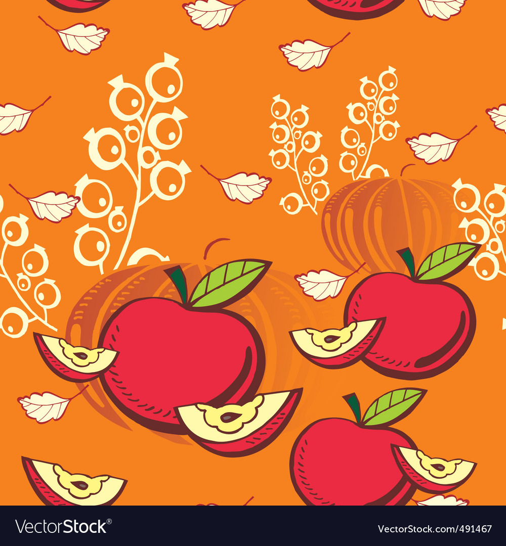 Apple and pumpkin vector image