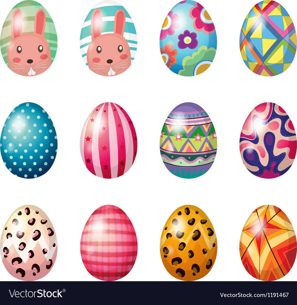 easter eggs with colorful designs royalty free vector image