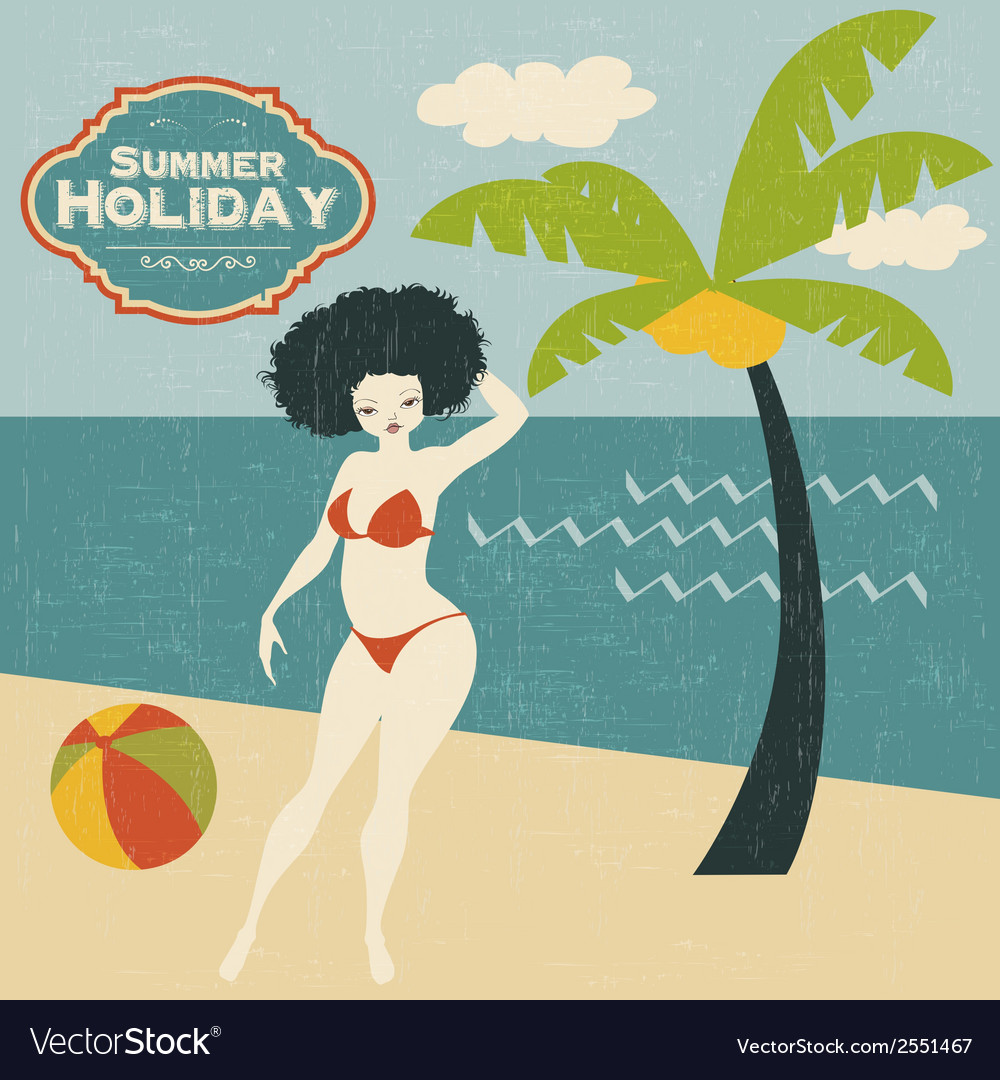 Retro woman on the beach vector image