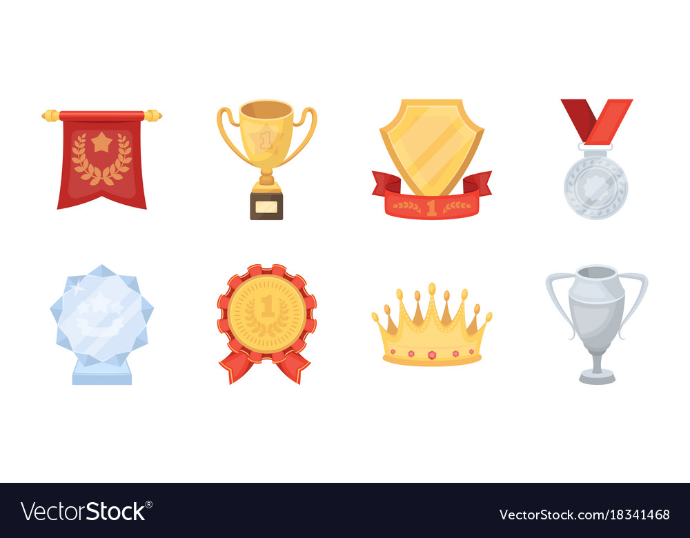 Awards and prizes icons in set collection for vector image