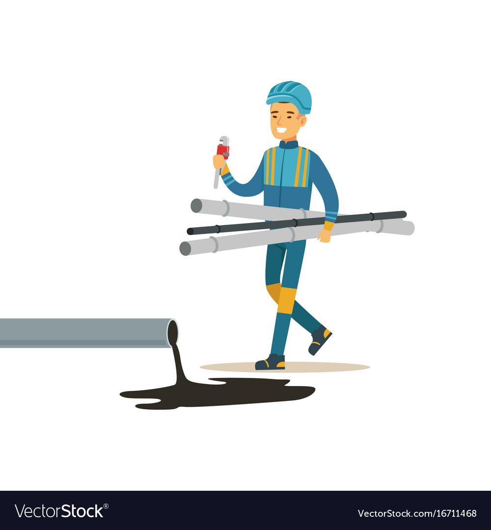 Builder worker repairing industrial oil pipeline vector image