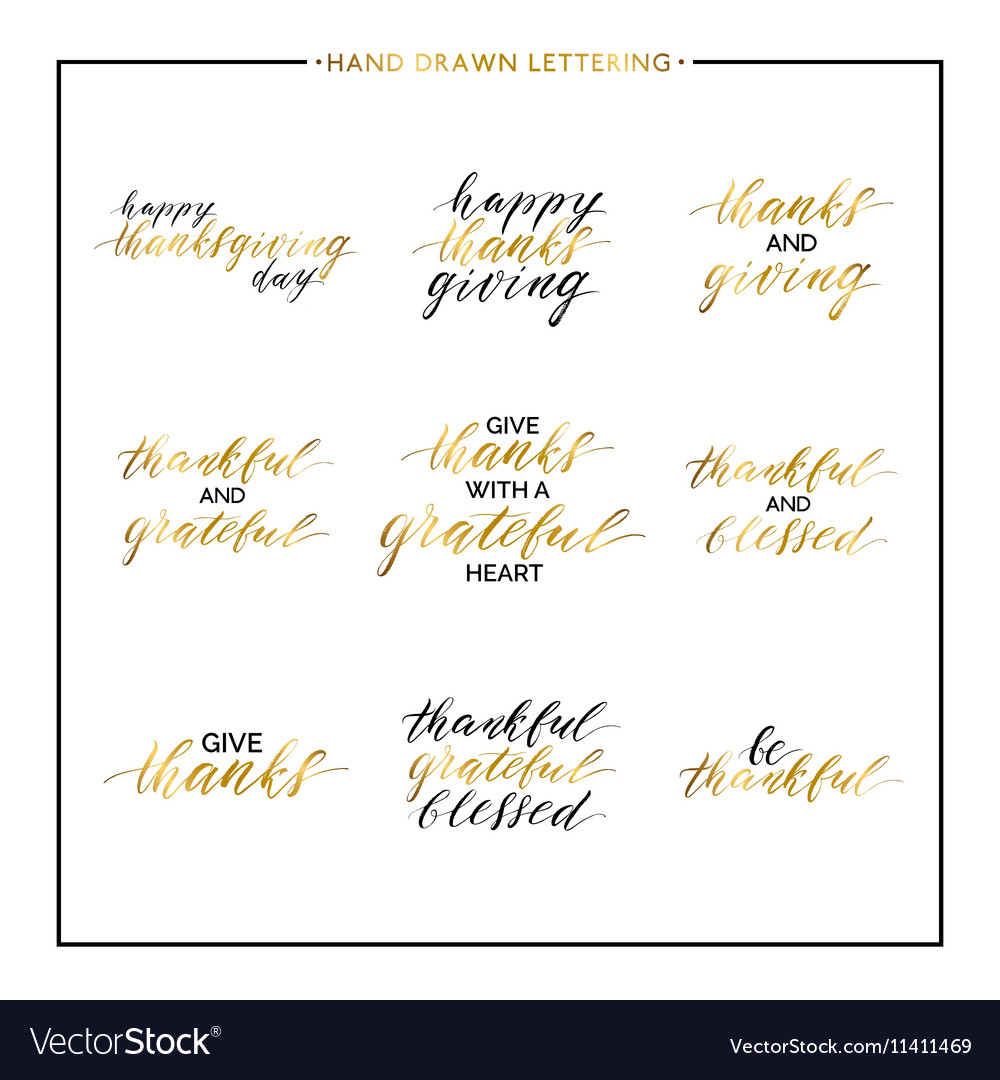 Thanksgiving gold lettering set vector image