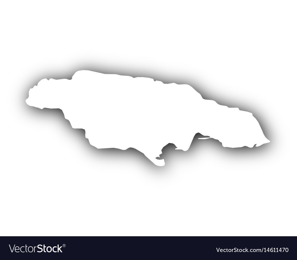 Map of jamaica with shadow vector image