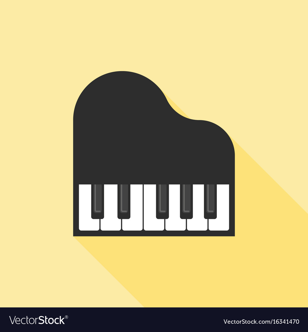 Piano icon flat design with long shadow vector image