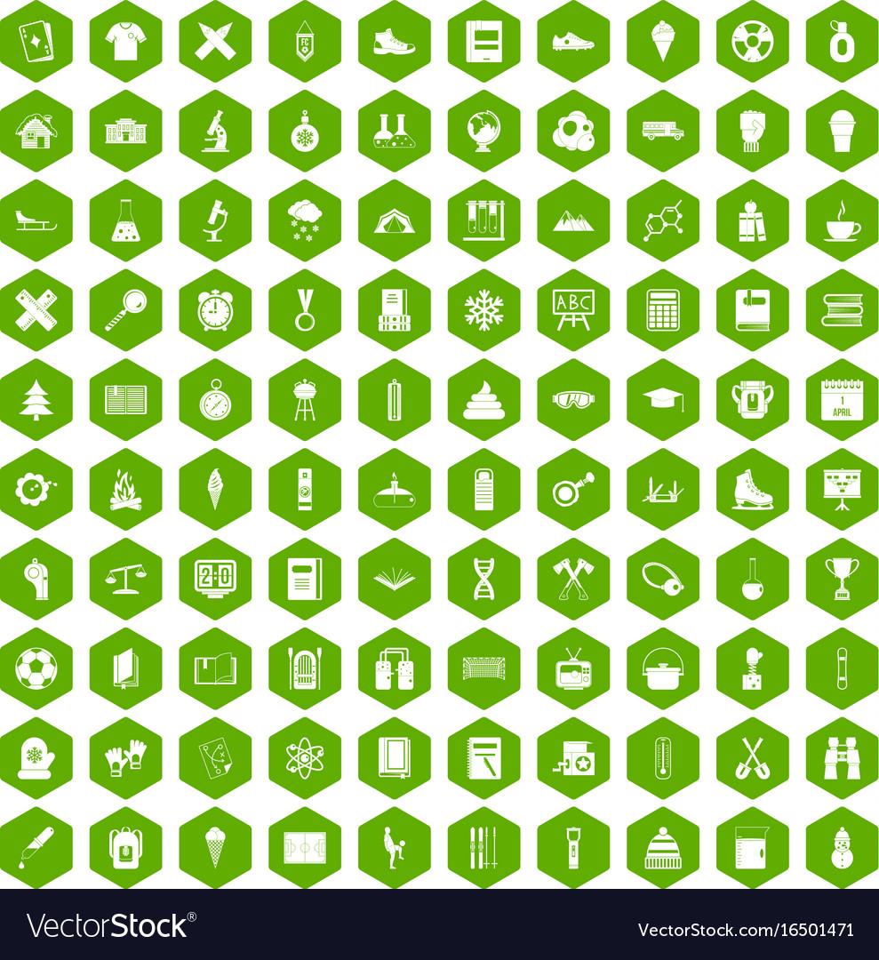100 school years icons hexagon green vector image