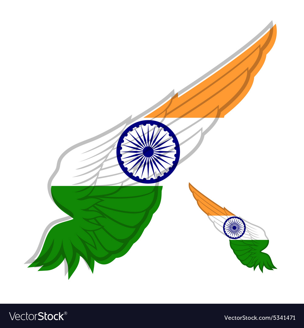 Flag of India on abstract Wing and white vector image