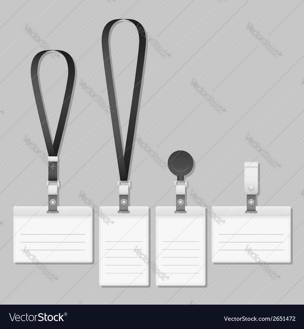 Badge Lanyard name tag holder vector image