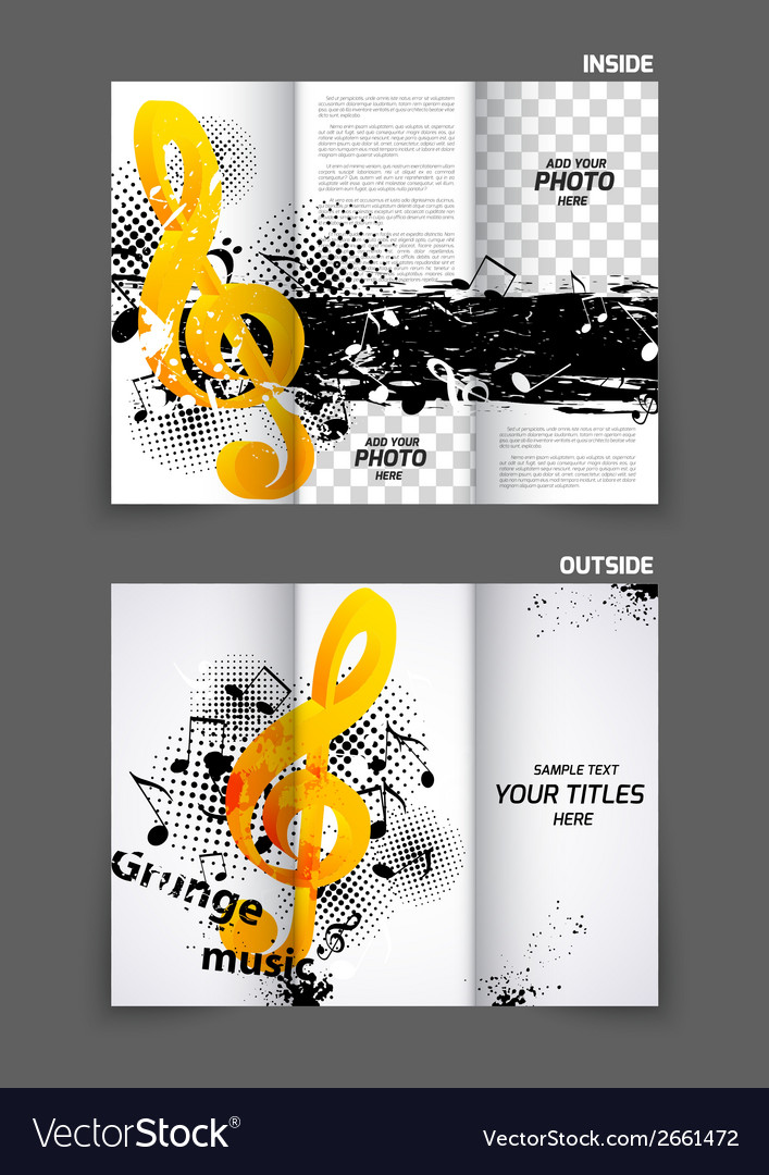 Music tri fold brochure vector image