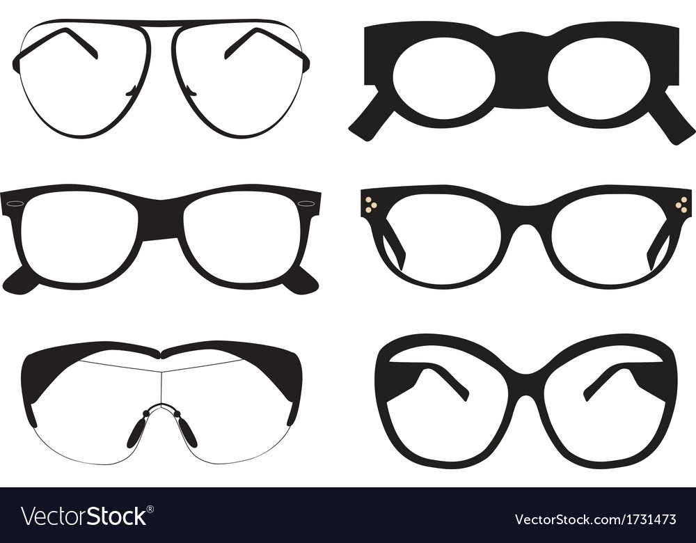 Black sunglasses icons vector image