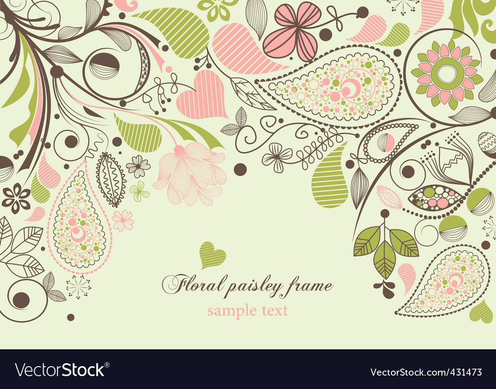 Floral paisley frame vector image
