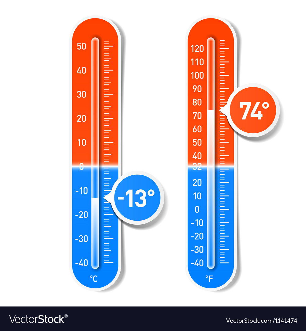 Celsius and Fahrenheit thermometers vector image