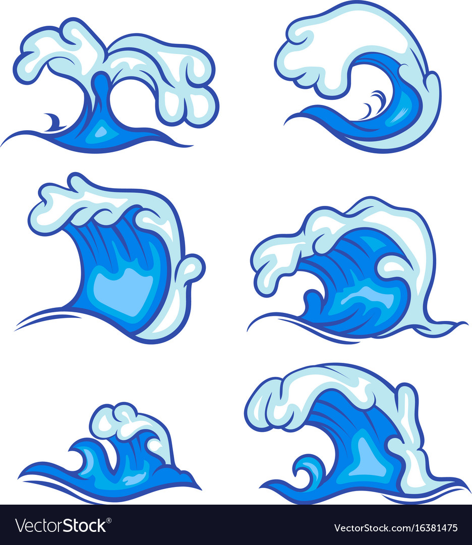 Blue sea wave collection set vector image