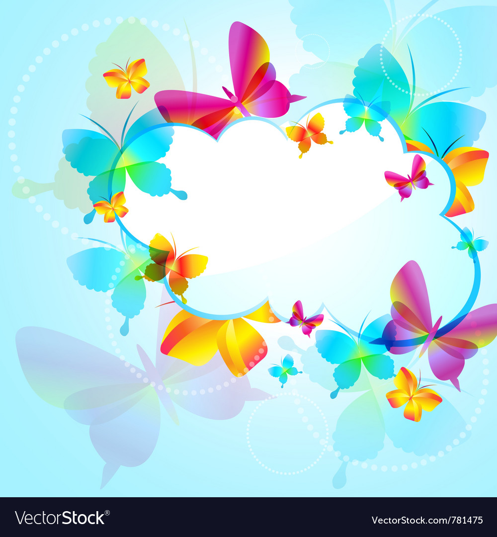 Colorful background with butterfly Royalty Free Vector Image