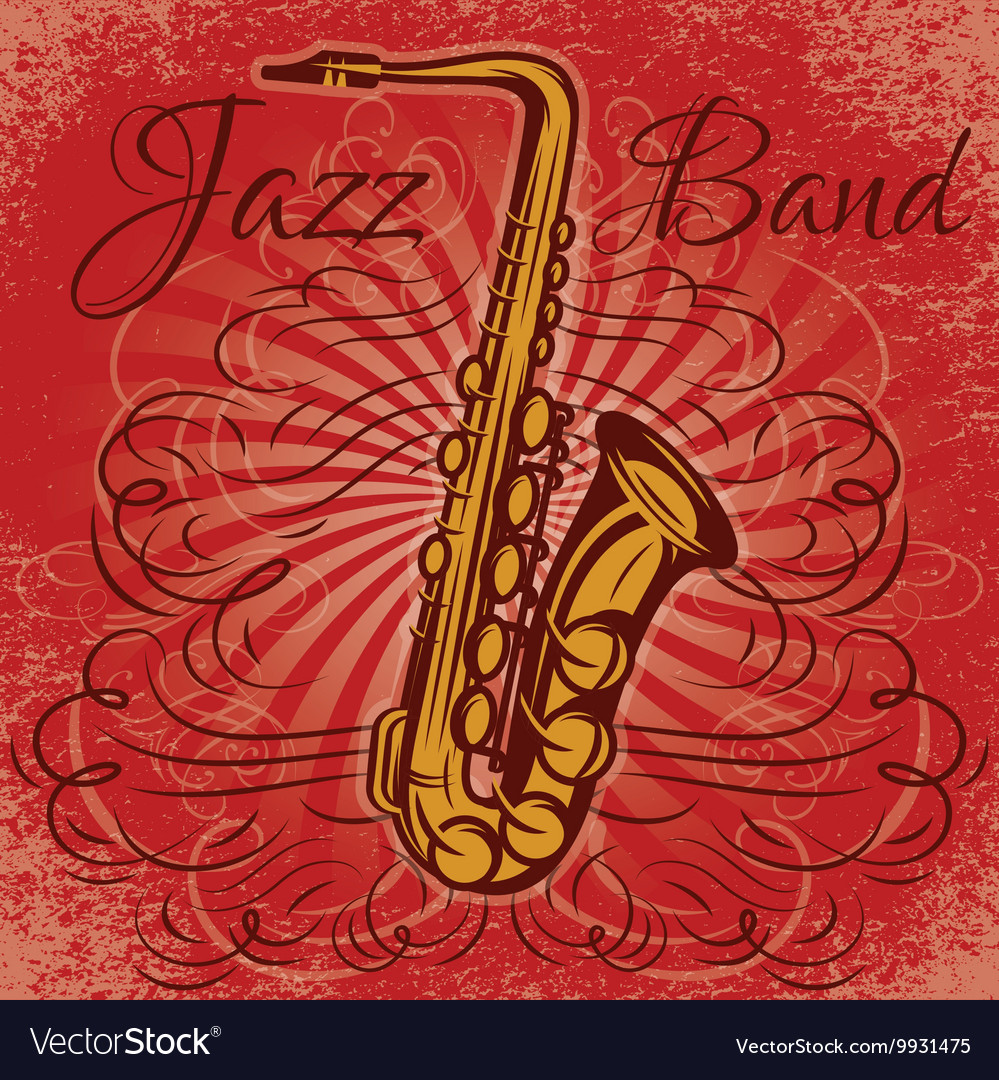 Retro promotional poster for the jazz concert with vector image