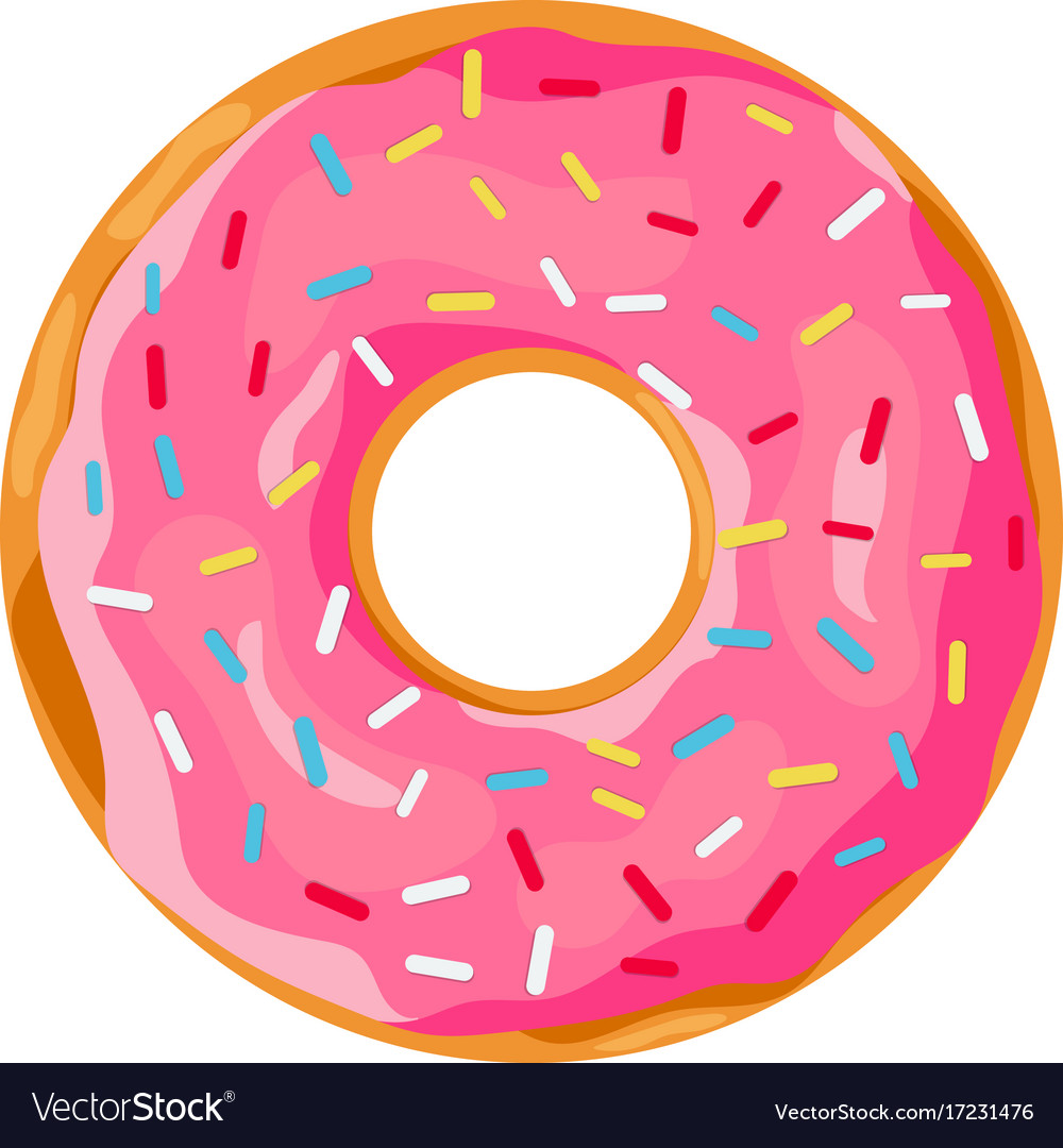 Donut with pink glaze vector image