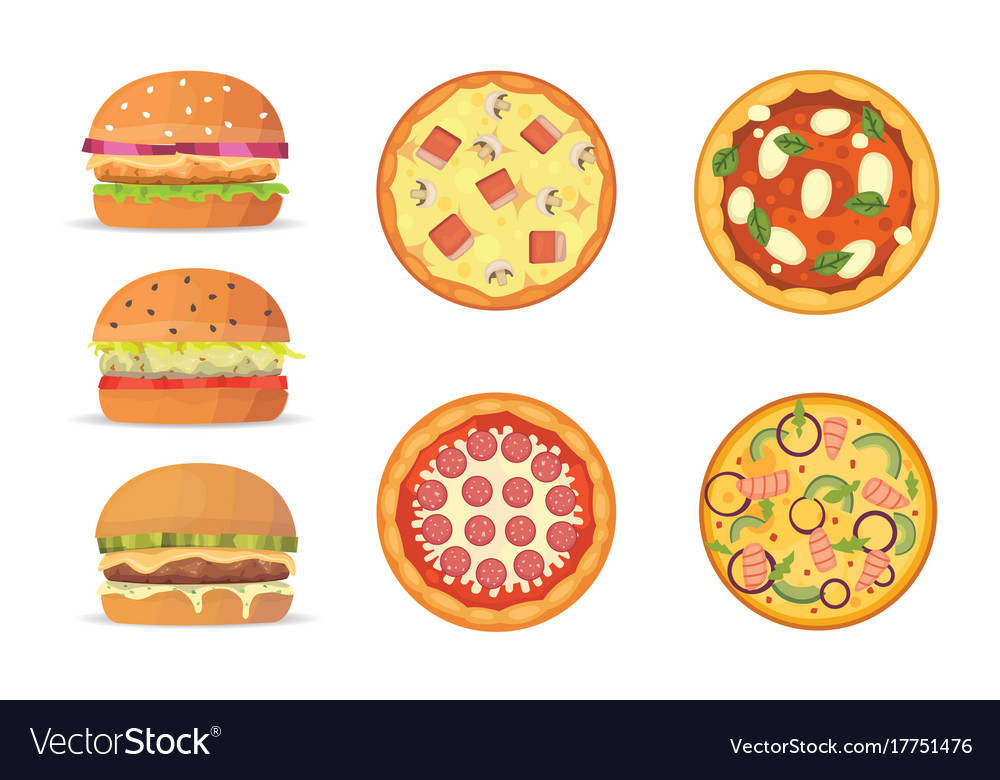 Various fast food cartoon vector image