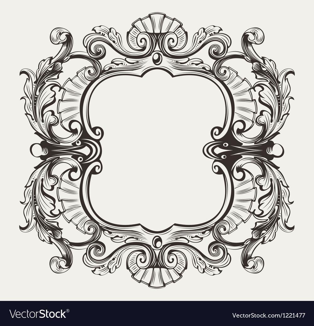 Elegant Baroque Ornate Curves Engraving Frame vector image