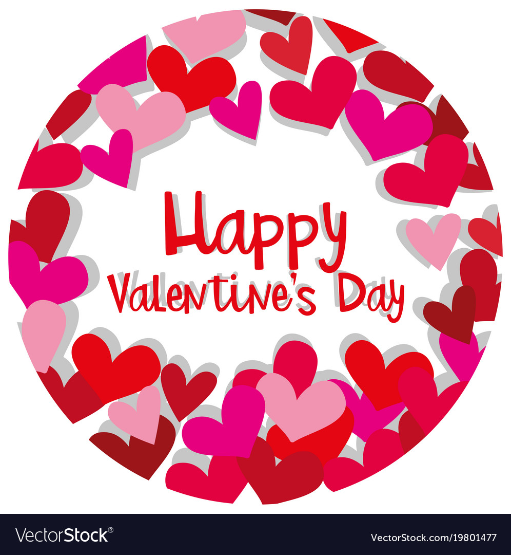 Happy valentine card template with hearts in red vector image happy valentine card template with hearts in red vector image pronofoot35fo Choice Image