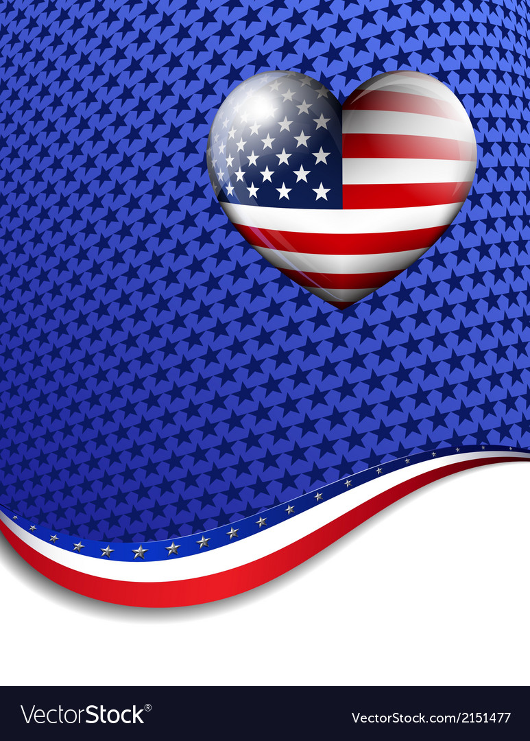 Stars Stripes Heart Background vector image
