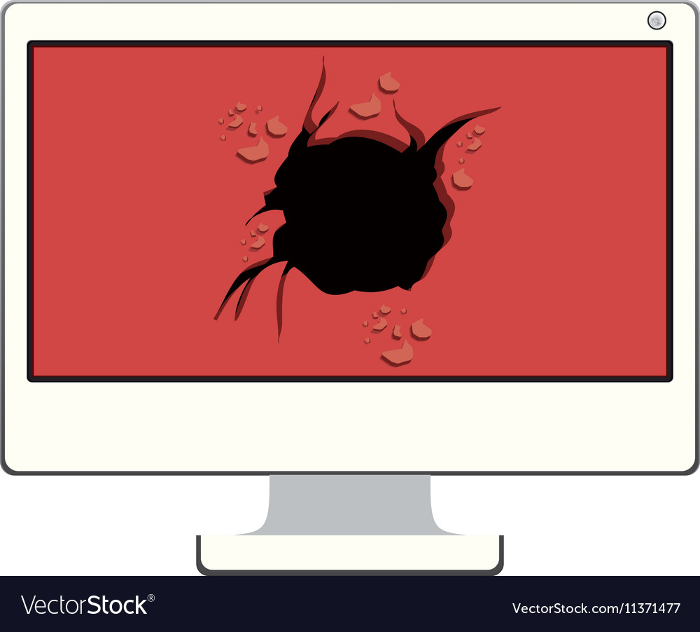 Tech desktop with broken screen vector image